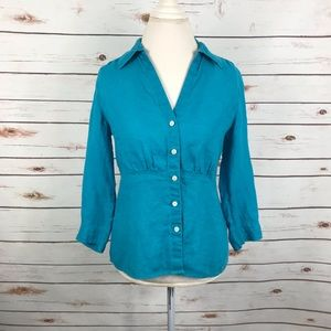 Talbots Irish Linen Blouse Turquoise Blue Shirt